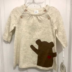 🆕 NORDSTROM baby girls fine knit dress w/bear